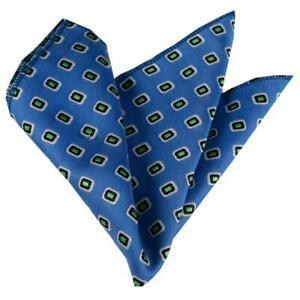 Celino Blue w/ Yellow Squares Pocket Square for Men Silk Handkerchief for Suit