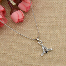 Hockey Stick Rhinestone Pendant Necklace Women Dress Jewelry Adjustable Chain