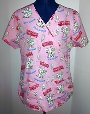 Scrub Top S It's Happy Bunny Pink Cartoon Lightweight Mock Wrap Prev Owned VGC