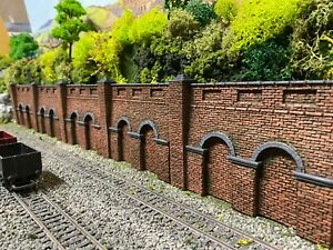 OO Gauge Low Relief Rough Brick Retaining Wall sections x 5
