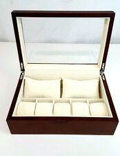 Bracelet Bangle Box 10 Watch Display Storage Jewelry Wooden Case Brown