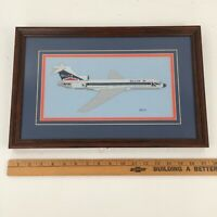 Vintage Needlepoint - Delta Airlines Plane - Framed  - Aviation Collectible