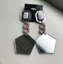 Rare White Cameo Pink Chunky Chain Dangly Mirror Earrings