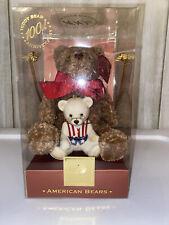 100th Anniversary Lenox Amercan Bear Plush and Ornament. In org box