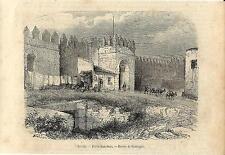 Stampa antica SIVIGLIA Sevilla PortaS.Juan Spagna 1859 Grabado Antiguo Old Print