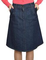 Casual Boutique Knee Length A Line Dark Blue Denim Skirt 8 10 12 14 16 18 20 22