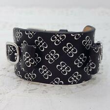 GUESS Black Genuine Leather Strap Bracelet Logo Cuff Unisex Mens Buckle NWOT