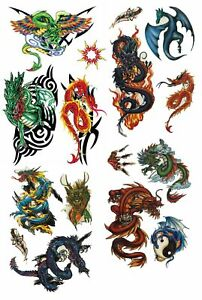 Lot Of 16 Dragon Assorted Temporary Tattoos Fake Body Art Halloween Makeup