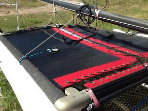 2 Hobie Cat 16 Trampolines 1 Black Mesh Red Tough Wrap And 1 Blue tough wrap