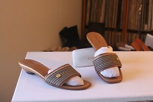 Eric Javits New York Tan Brown Fabric Leather Lined Slides Sandals Size 9.5 M