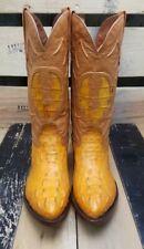Mens Crocodile Head Cut Exotic Skin Western Cowboy Boots J Toe Size 5 MADE USA