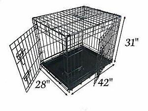 Ellie-Bo Dog Puppy Cage XLarge 42 inch Black Folding 2 Door Crate with Non-Chew