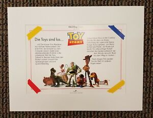 Disney TOY STORY 1995 Lithograph Print German Art Movie Woody Buzz Lightyear
