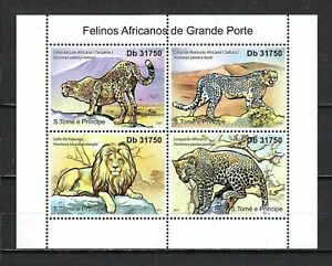 Sao Tome & Principe 2011 Sc#2384  Large African Felines  MNH M/S $14.30