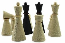 Unique hand crafted chess pieces only made of genuine leather and natural wood