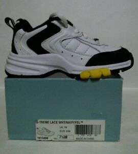 NEW STRIDE RITE X-TREME Lace White/Navy/Yellow Sneakers (Size 7.5 M)