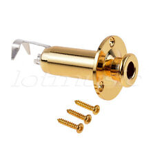 Acoustic Guitar Bass Output Jack Strap Button Endpin Plug Socket Stereo Gold