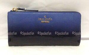 Kate Spade PWRU4190 Cedar Street Ombre Nisha Zip Wallet COSMIC OMBRE Blue NWT