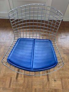 Paire de Galettes Knoll pour Sidechair Bertoia -Velluto Pelle Leather Bleu