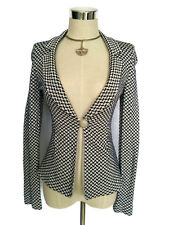 ARMANI COLLEZIONI Jacket - Navy White Stretch Flare Button Blazer Designer- 38/6