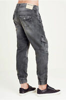 True Religion Men's Cargo Runner Jogger Pants in Washed Black