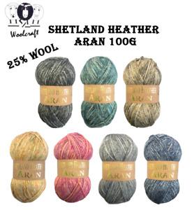 Woolcraft Shetland Heather Aran Soft Knitting Yarn / 25% Wool 100g