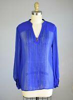 DIANE VON FURSTENBERG DVF Tanyana Blue Silk Blouse Top Size 4