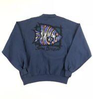 Vintage 90s San Diego California Crewneck Sweatshirt Size Large Fish Logo USA