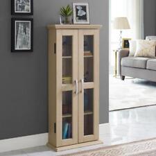 Wooden Bookcase Storage Shelving Wall Unit Display Cabinet Bookshelf Glass Doors