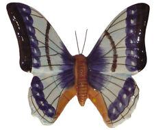 Papillon céramique bleu et noir 17 cm, décoration de jardin pas cher Neuf E
