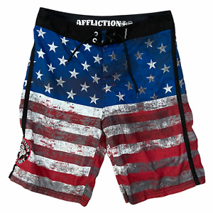 Affliction American Flag Board Shorts Men's Size 32 Black Red White Blue Tie