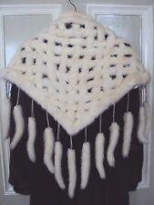 Ermine WHITE MINK lattice,stole,collar,shawl,MINK tails,Bride,WEDDING,Christmas