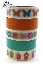 MAXI LOT Masking tape (x5) PAPILLONS FLEURS CAGE A OISEAUX MULTICOLORE ENFANTS