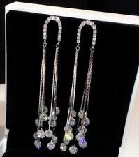 18k White Gold Platinum GF Long Tassel Earrings made w Swarovski Crystal Stone