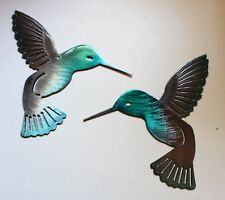 Hummingbird  Teal Tainted Pair Metal Wall Art Decor