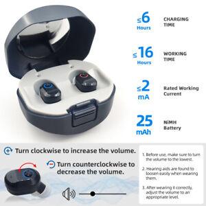 1paar Wiederaufladbar Mini Digital Hörgeräte In Ear Verstärker Verlust Hörhilfe