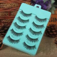 5 pairs Thick False Eyelashes Messy Cross Natural Fake Eye Lashes Makeup Tool