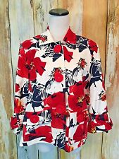 Coldwater Creek Blazer Jacket Floral Red White Blue Big Buttons 3/4 Slv 10 EUC!