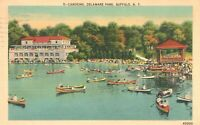 Vintage Postcard 1944 Canoeing Delaware Park Buffalo NY New York