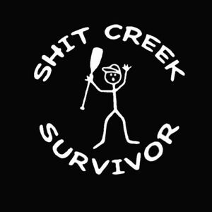 Sh*t Creek Survivor Funny Car Truck Window White Styling Vinyl Decal Sticker
