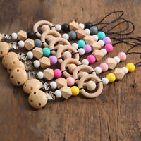 Natural Wood Silicone Beads Baby Teething Sensory Dummy Pacifier Chain Clips Toy
