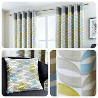 Fusion COPELAND Duck Egg 100% Cotton Ready Made Eyelet Curtains & Cushions