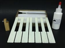 "Piano Keytops Set/52 Simulated Satin Ivory Long Head 2"" w/2oz PVC-E Glue & Tool"