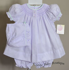 NWT Petit Ami Lavender Smocked Bishop Dress Bonnet 3pc Newborn Baby Girls