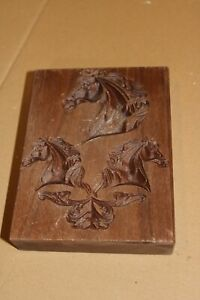 Hand Made Wooden brick with Horses