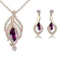 18K Rose Gold GP Amethyst Swarovski Crystals Modern Set Necklace Earrings