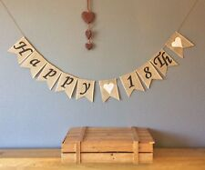 ❤️18th Birthday Bunting Banner. Vintage Hessian Burlap❤️