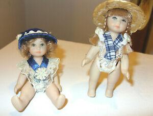 Rare Vintage Collectible Porcelain Doll - 2 x miniature dolls girls ladies