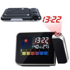 Digital LCD LED Projector Alarm Clock Weather Station Indoor Colorful Projecting