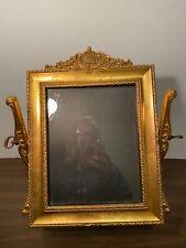 """Vintage Tilt Swivel Gold Gilded Baroque Frame 8"""" x 10"""", Black Velvet back, Great"""